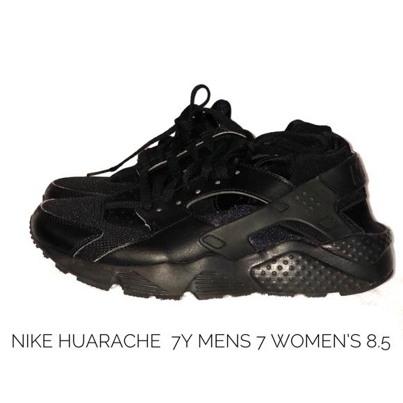 NIKE Black HUARACHE 7Y Men's 7 Women's 8.5 EUC